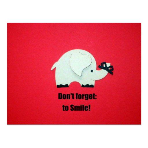 ¡No olvide sonreír! Tarjetas Postales