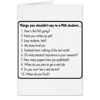 No pida un PhD Tarjeta De Felicitación