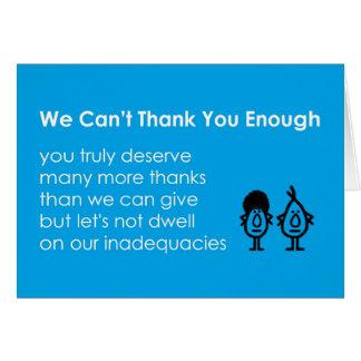 No podemos agradecerle bastante - un poema tarjeta de felicitación