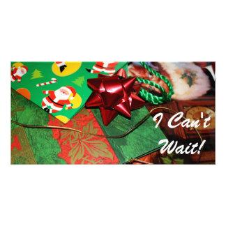No puedo esperar navidad tarjetas fotográficas personalizadas