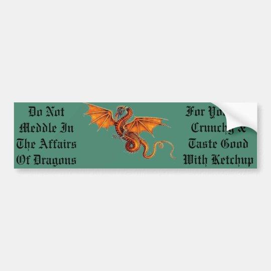 No se entrometa en los asuntos de dragones pegatina para coche
