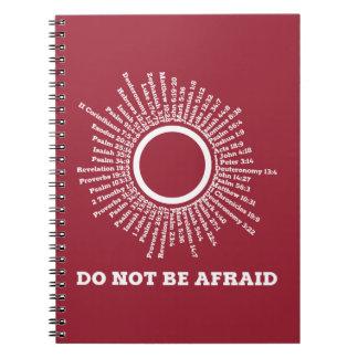 No sea promesas asustadas de la escritura cuaderno