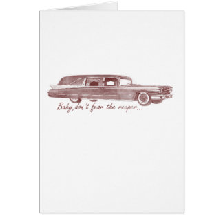 No tema el diseño del coche fúnebre del segador tarjeta de felicitación