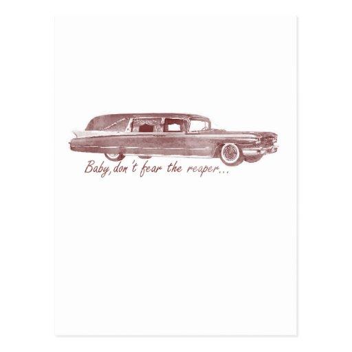 No tema el diseño del coche fúnebre del segador postales