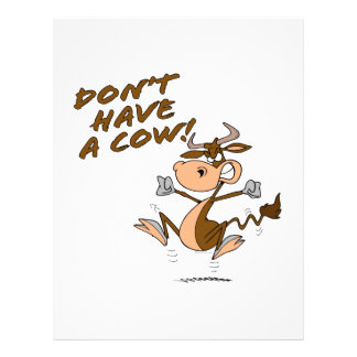 no tenga un dibujo animado chistoso de la vaca de  folleto 21,6 x 28 cm