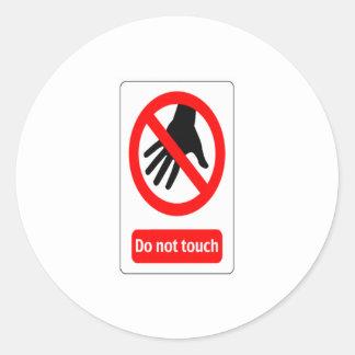 No toque la señal de peligro pegatina redonda