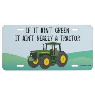 No un tractor si su placa no verde