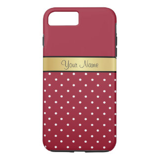 Noble, lunares blancos rojos picantes elegantes funda iPhone 7 plus