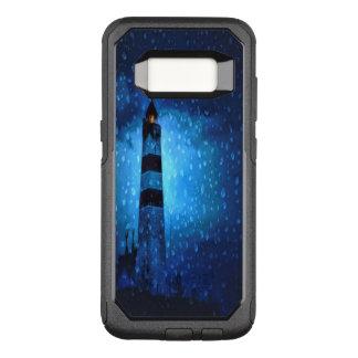 Noche azul marino con un faro y las gotas de agua funda commuter de OtterBox para samsung galaxy s8