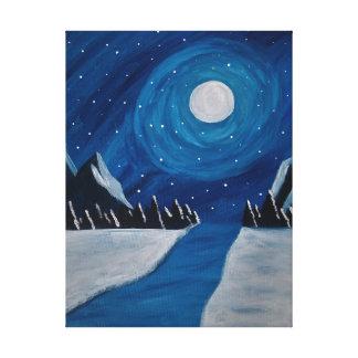 noche de la montaña lienzo