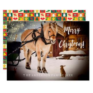 Noche de navidad en un caballo de granja con la invitación 8,9 x 12,7 cm