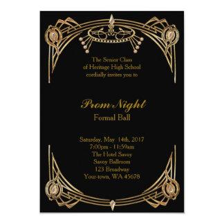 Noche del baile de fin de curso, bola formal, invitación 12,7 x 17,8 cm