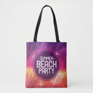 Noche del fiesta de la playa del verano bolso de tela