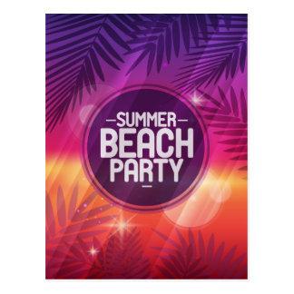 Noche del fiesta de la playa del verano postal