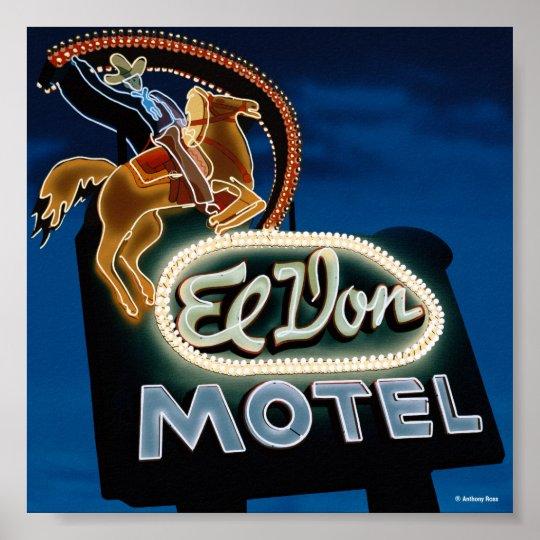 Noche del motel del EL Don en el poster de la ruta Póster
