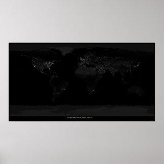 Noche en la tierra del planeta póster
