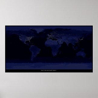 Noche en la tierra del planeta impresiones