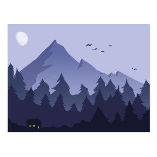 Noche en una postal de la cabina de la montaña