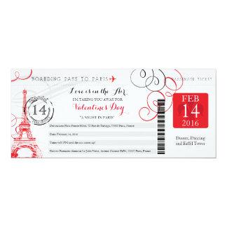 Noche en viaje del día de San Valentín de París el Invitación 10,1 X 23,5 Cm