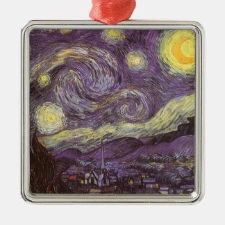 Noche estrellada de Vincent van Gogh, bella arte Adorno Cuadrado Plateado