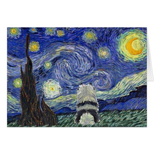 Noche estrellada del Keeshond Tarjeta De Felicitación