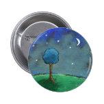 Noche estrellada, el árbol abstracto del paisaje chapa redonda 5 cm