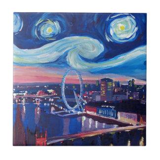 Noche estrellada en Londres Azulejo Cuadrado Pequeño
