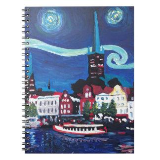 Noche estrellada en Luebeck Alemania Cuaderno