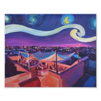 Noche estrellada en Marrakesh en mercado de Fna Impresión Fotográfica