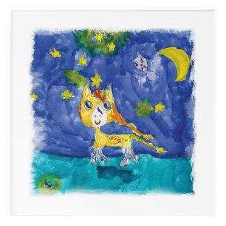 Noche estrellada Pegaso de la acuarela con el palo Impresión Acrílica