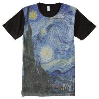 Noche estrellada por todo la camiseta de la