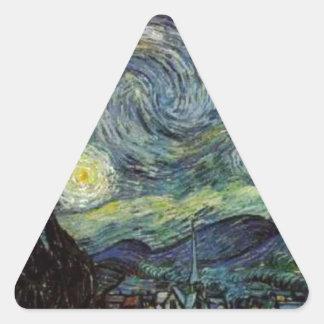 Noche estrellada - Van Gogh Pegatina Triangular