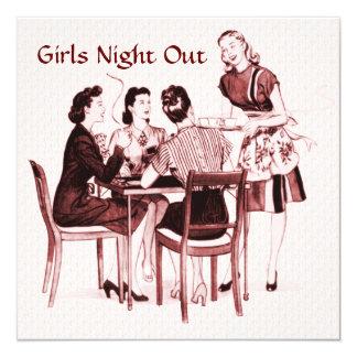 Noche retra de los chicas de los años 40 hacia invitación 13,3 cm x 13,3cm