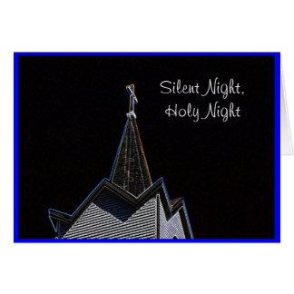 Noche silenciosa de la aguja de la iglesia tarjeta de felicitación