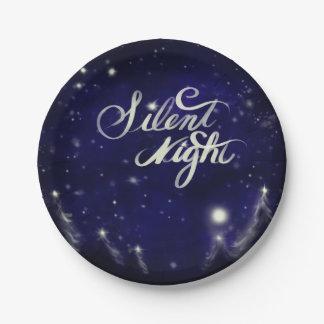 Noche silenciosa - escena romántica de la nieve plato de papel