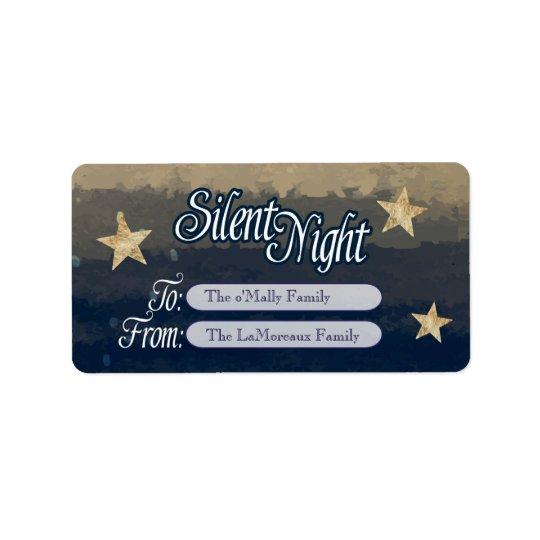 Noche silenciosa, etiqueta santa del día de fiesta etiquetas de dirección