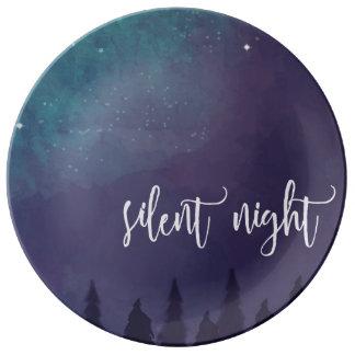 Noche silenciosa - placa decorativa del navidad plato de porcelana