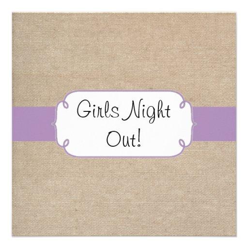 Noche violeta y beige del vintage de la arpillera  comunicados personalizados