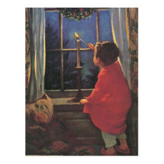 Nochebuena del vintage de Jessie Willcox Smith Postal