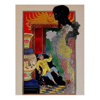 Noches árabes Aladdin del vintage y los genios Postal