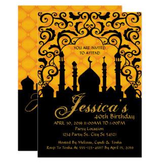 Noches árabes, invitaciones del cumpleaños del oro invitación 12,7 x 17,8 cm
