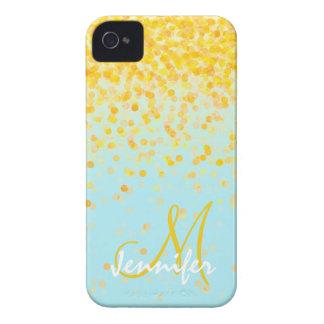 Nombre amarillo de oro femenino del ombre de la carcasa para iPhone 4 de Case-Mate