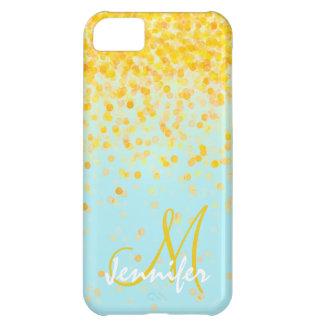 Nombre amarillo de oro femenino del ombre de la funda iPhone 5C