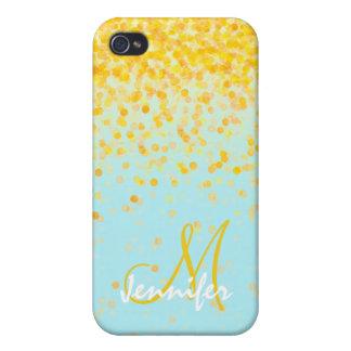 Nombre amarillo de oro femenino del ombre de la iPhone 4 protectores