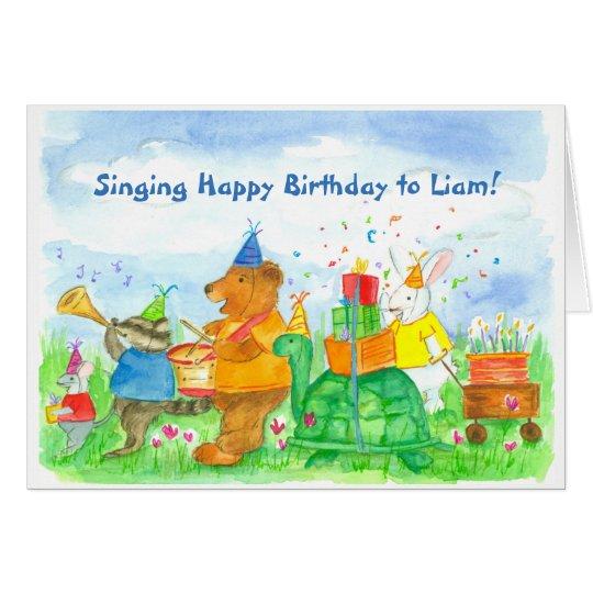 Nombre animal del personalizado del cumpleaños del tarjeta de felicitación