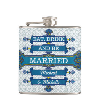 Nombre azul de encargo del boda de playa petaca