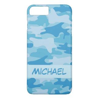 Nombre azul del camuflaje de Camo personalizado Funda iPhone 7 Plus