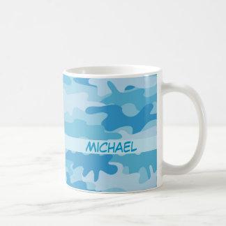 Nombre azul del camuflaje de Camo personalizado Taza De Café