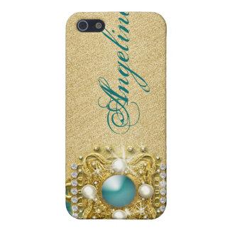 Nombre bling del monograma de las gemas del trullo iPhone 5 cárcasa