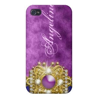 Nombre bling púrpura del monograma de las gemas iPhone 4 fundas